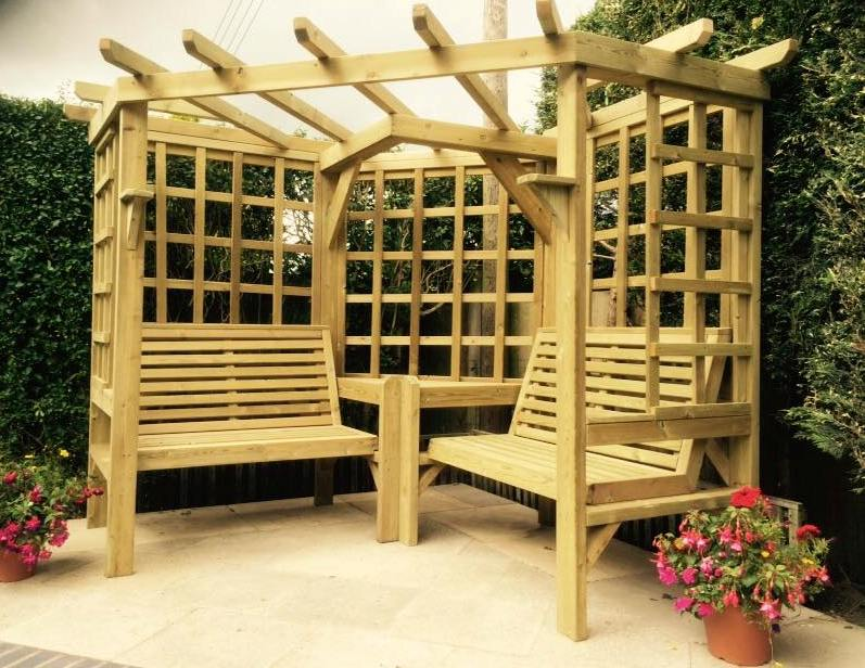 Clementine Corner 4-Seat Garden Arbour - Garden Furniture ...