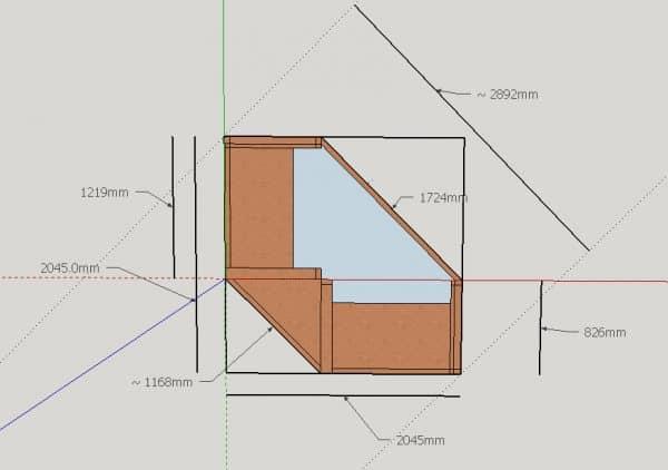 4-seat corner arbour plan dimensions